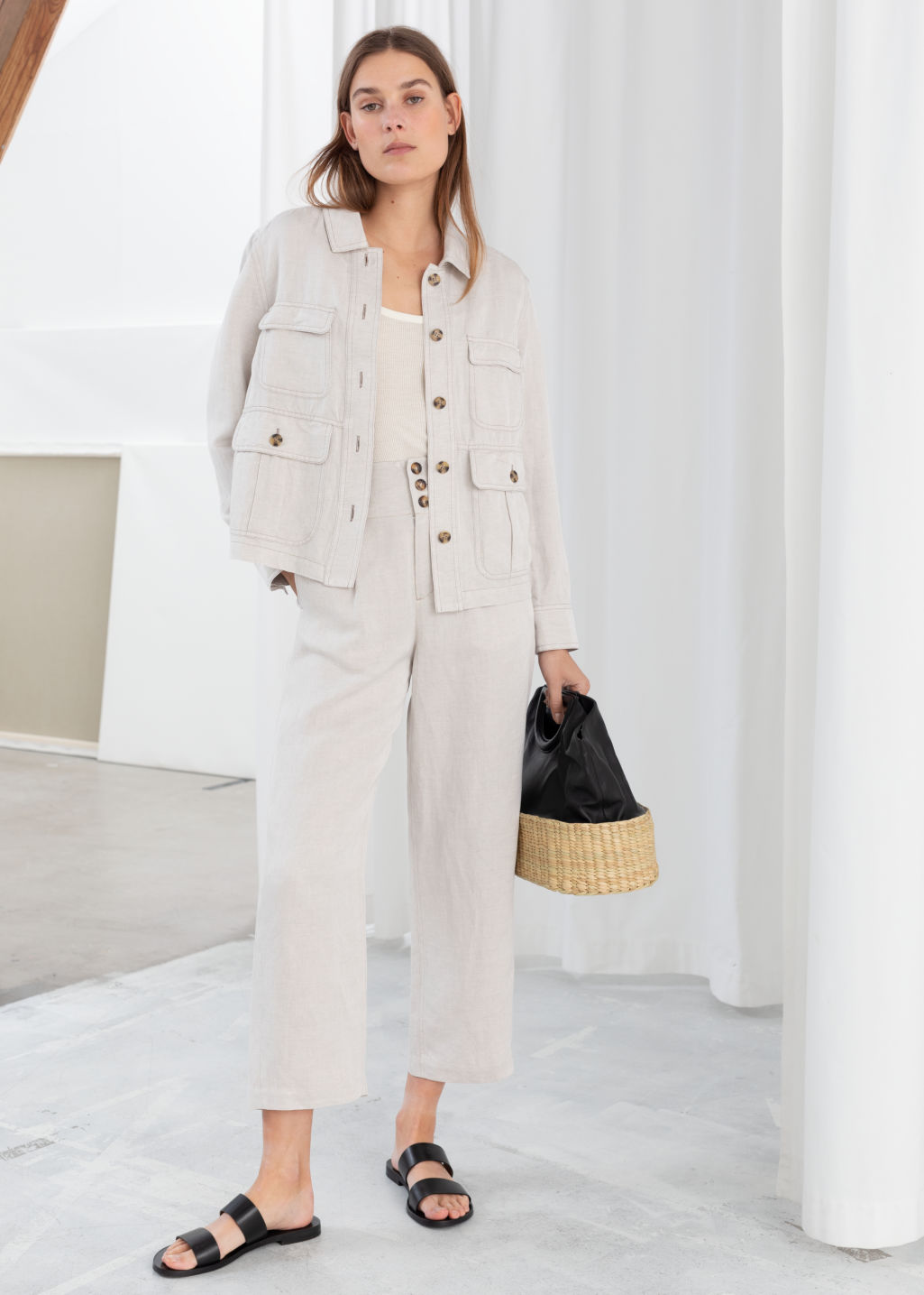 Model front image of Stories high waisted linen blend trousers in white