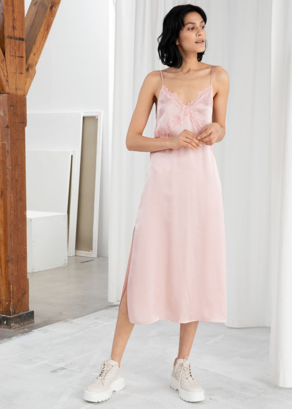 Satin Midi Slip Dress