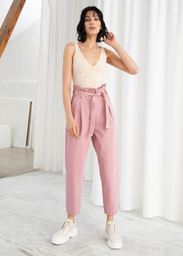 Tapered Paperbag Waist Pants