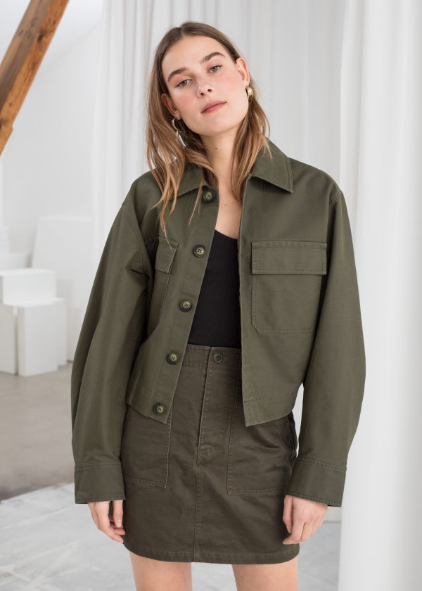 Cropped Cotton Twill Jacket