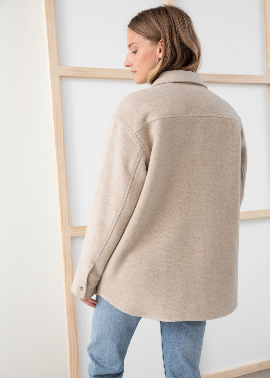 Model back image of Stories oversized wool blend workwear shirt in brown