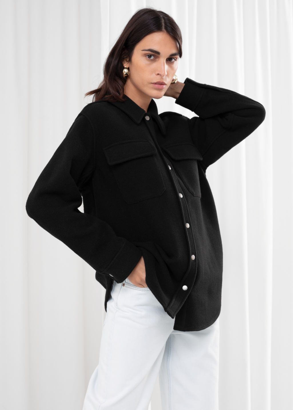 Model front image of Stories oversized wool blend workwear shirt in black
