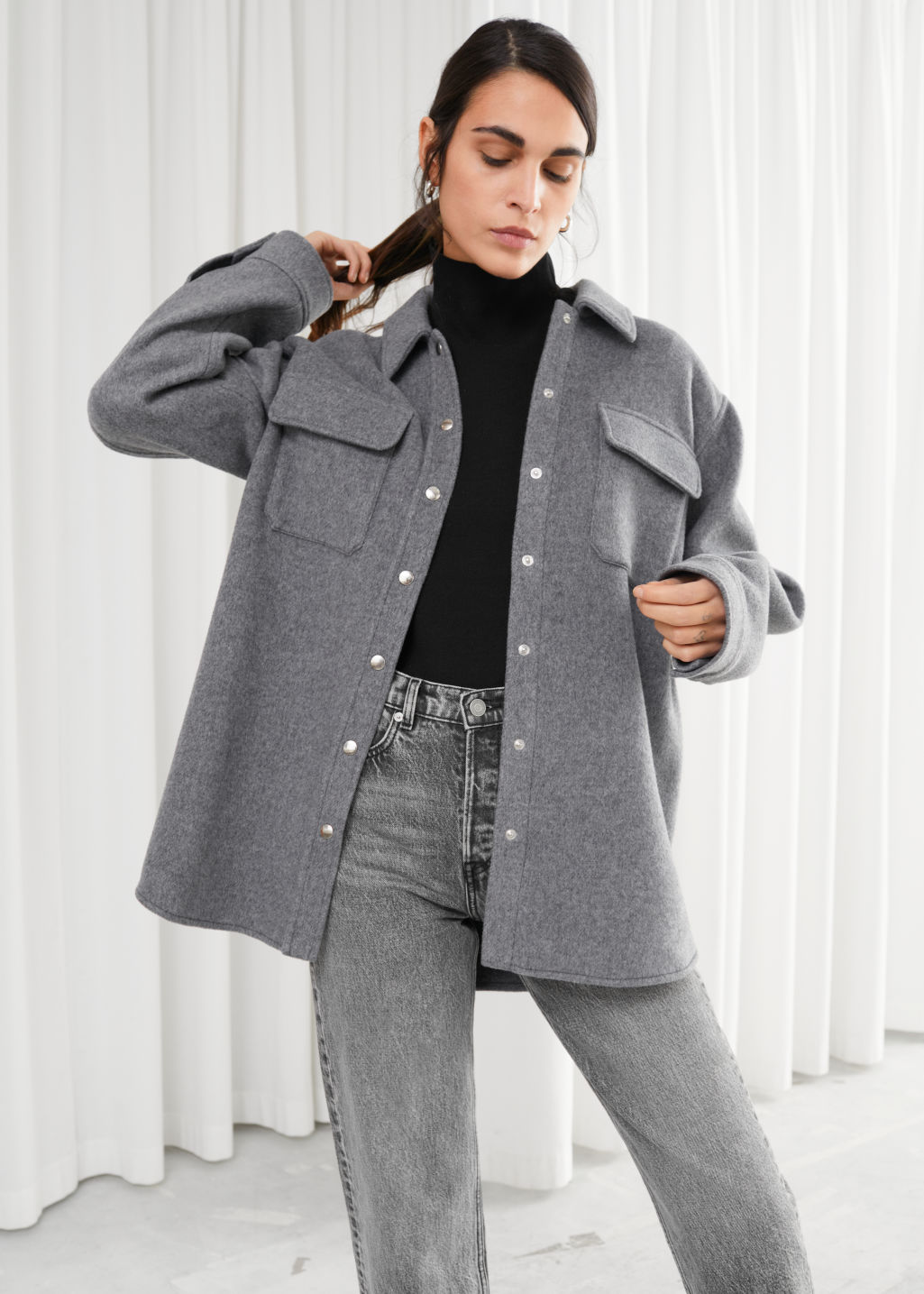 Model front image of Stories oversized wool blend workwear shirt in grey