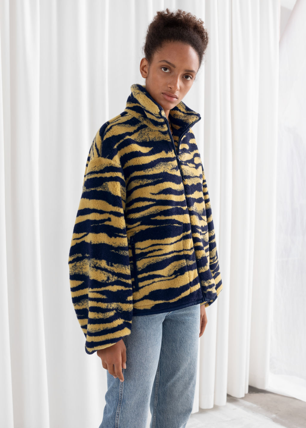 Model front image of Stories relaxed utility fleece jacket in yellow