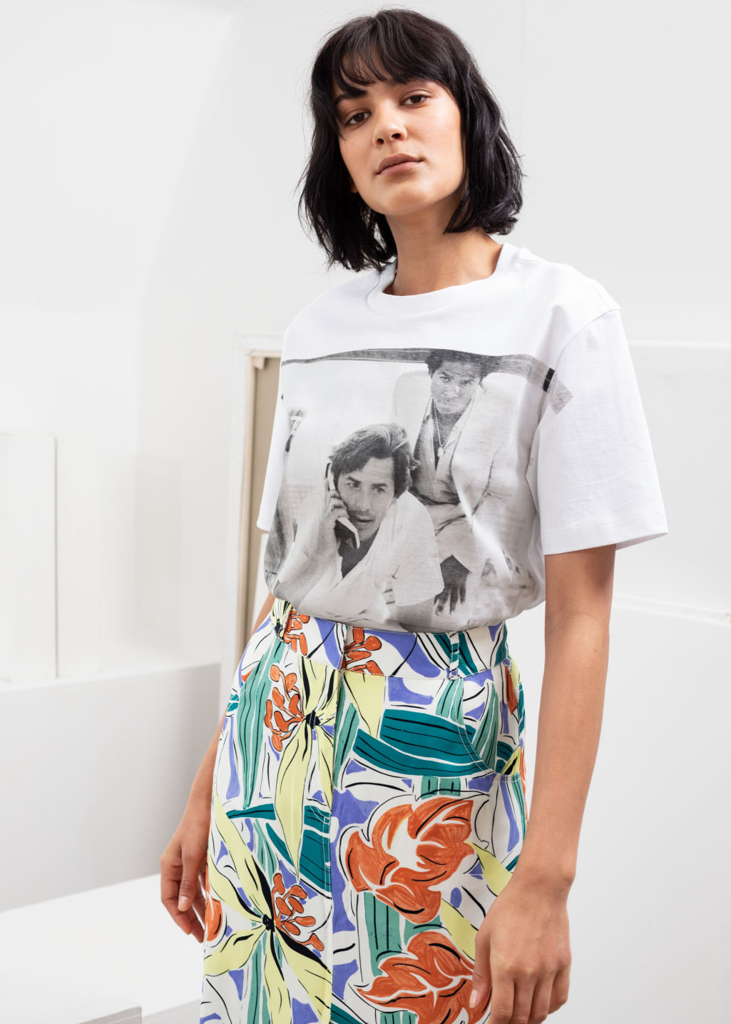 Model front image of Stories miami graphic tee in white