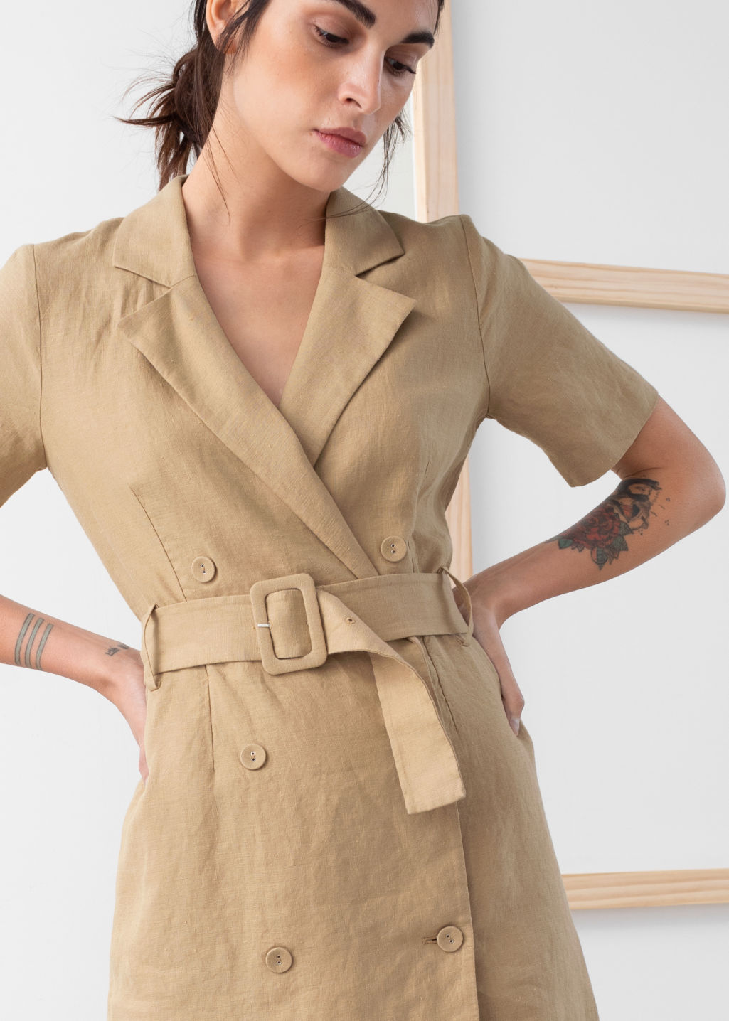 Model back image of Stories belted linen trench mini dress in beige