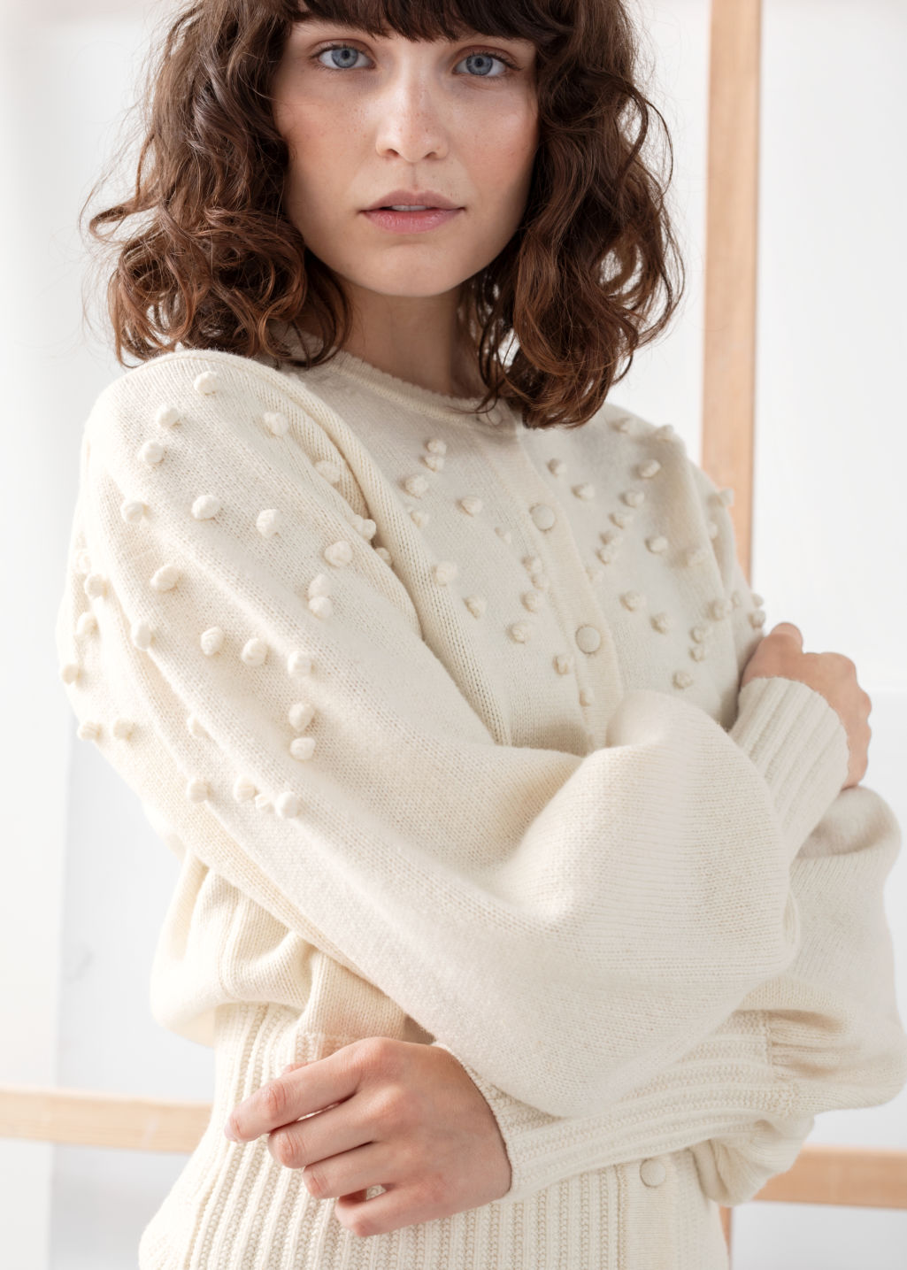 Model front image of Stories bobble pattern wool blend cardigan in white