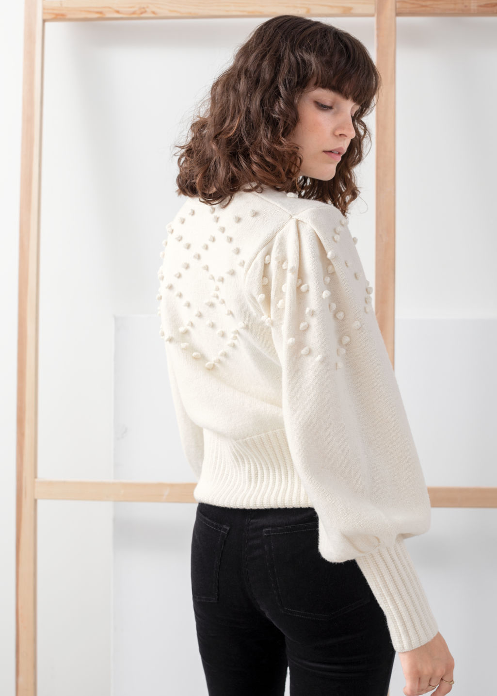 Model back image of Stories bobble pattern wool blend cardigan in white