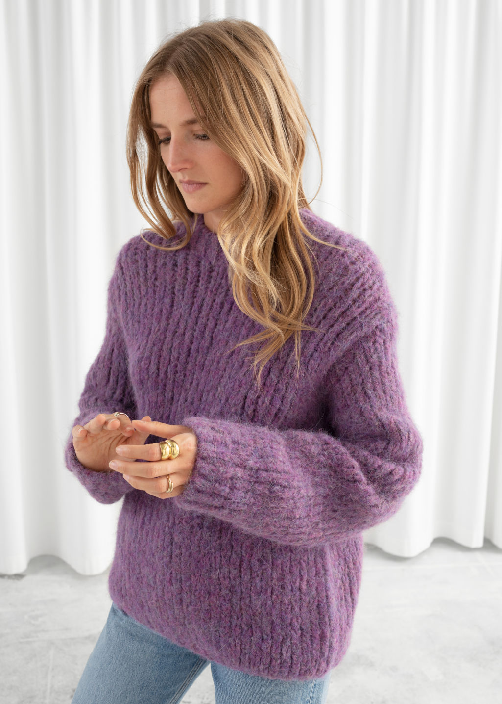 Model front image of Stories chunky alpaca blend knitted sweater in purple