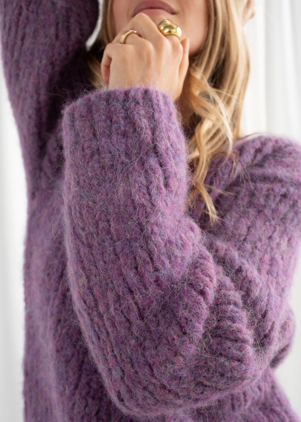 Model back image of Stories chunky alpaca blend knitted sweater in purple