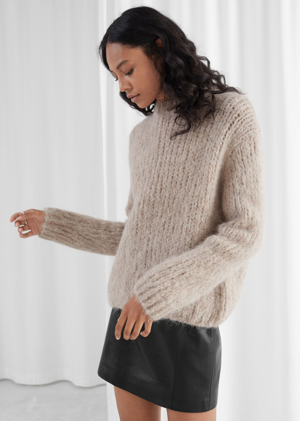 Model front image of Stories chunky alpaca blend knitted sweater in beige