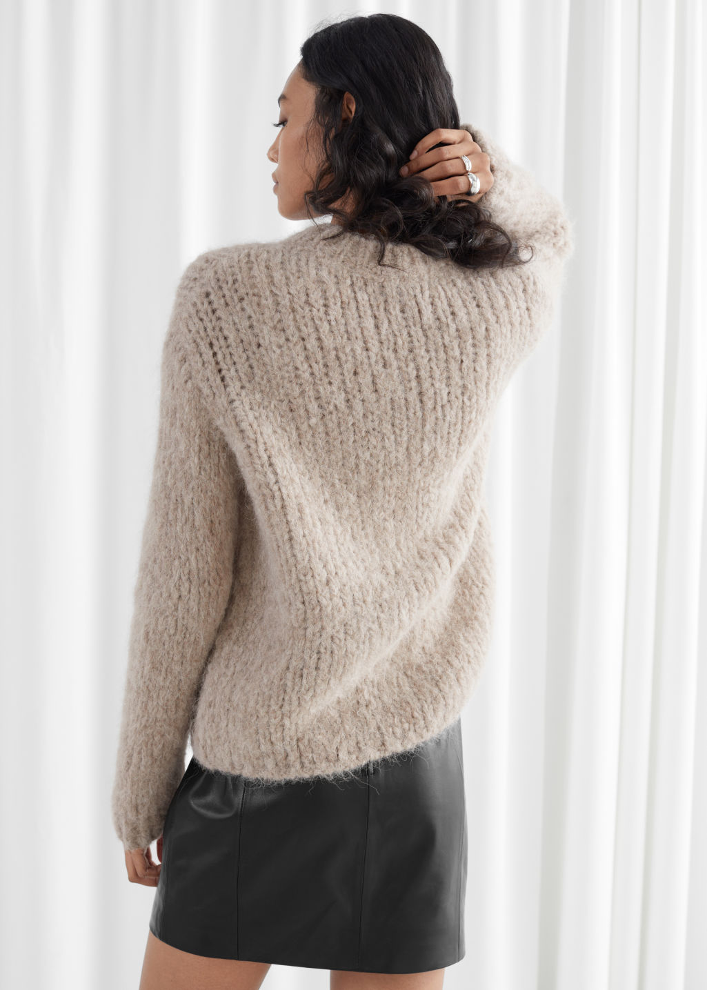 Model back image of Stories chunky alpaca blend knitted sweater in beige