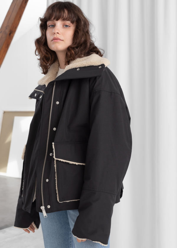 Oversized Faux Shearling Lined Jacket
