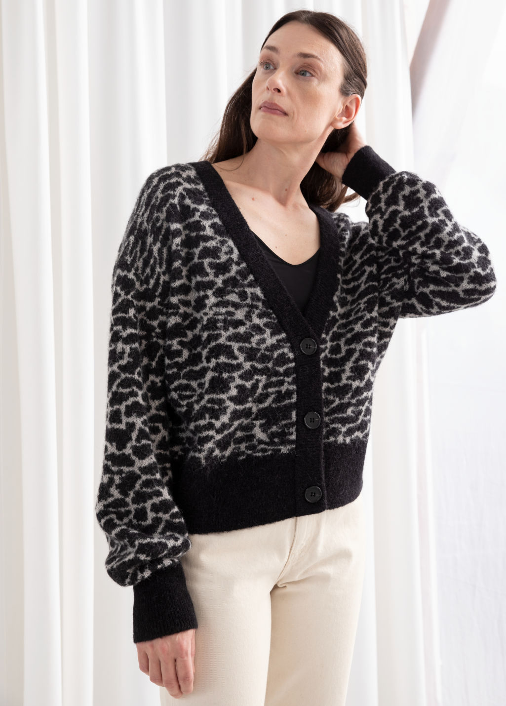 Model front image of Stories alpaca blend chunky cardigan in black