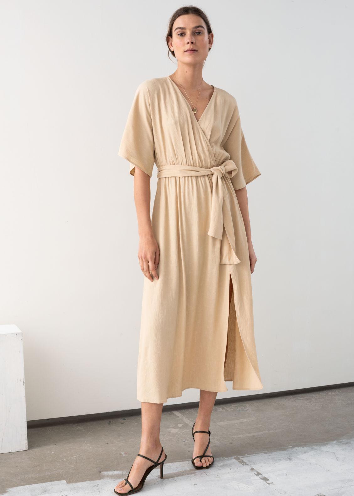 66d0c5f19775 Belted Kimono Wrap Midi Dress - Beige - Midi dresses -   Other Stories