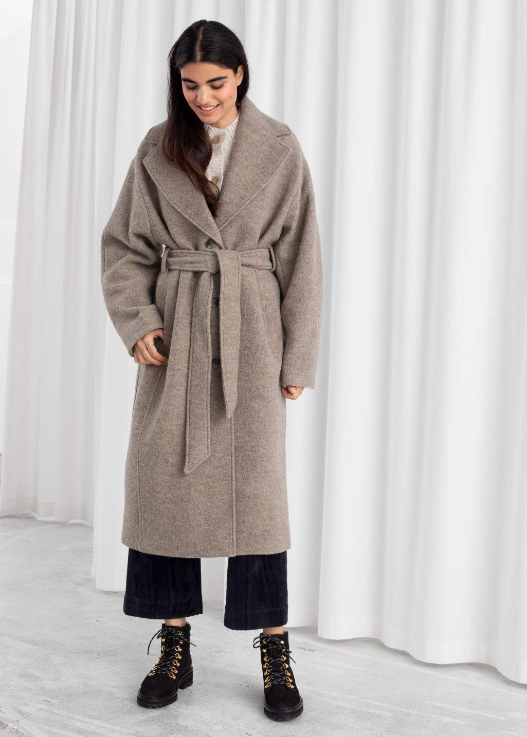 Model front image of Stories oversized belted wool coat in brown