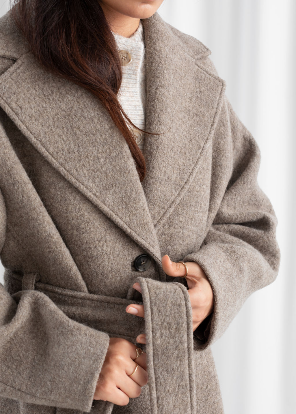 Model back image of Stories oversized belted wool coat in brown