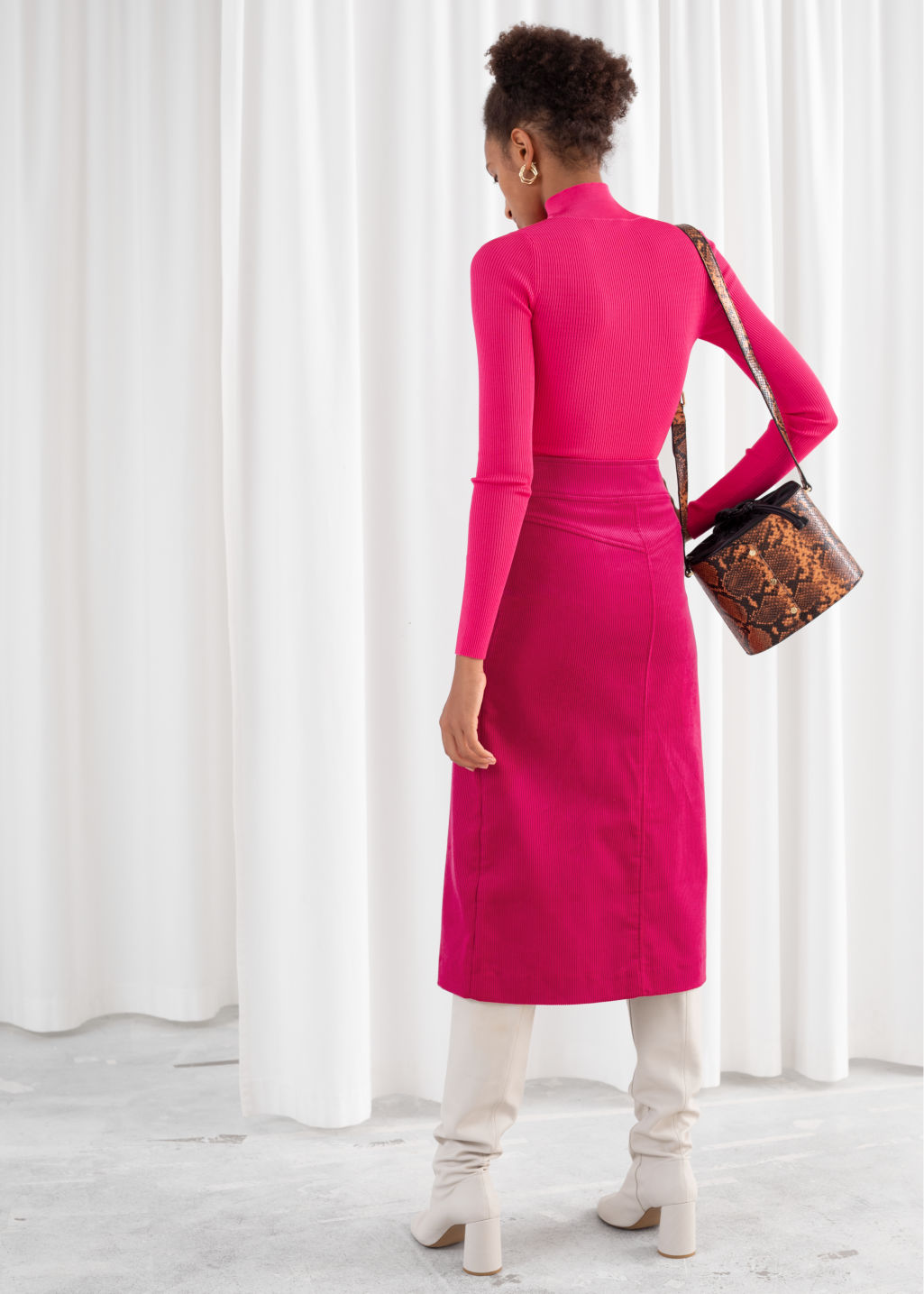 Model back image of Stories half zip ribbed knit turtleneck in pink