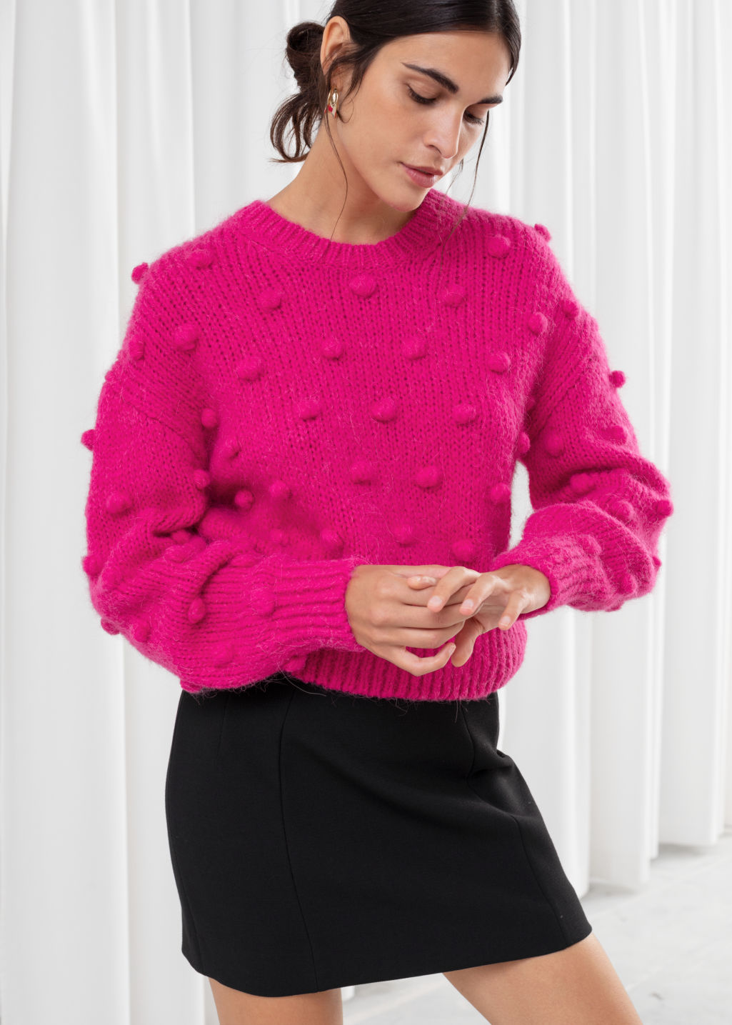Model front image of Stories alpaca wool knit bobble sweater in pink