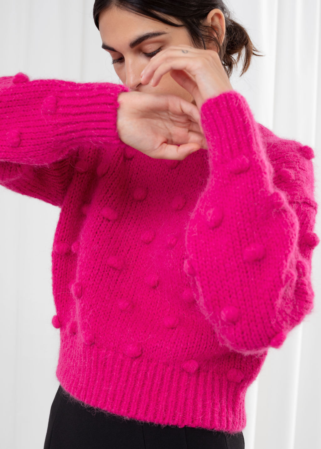 Model back image of Stories alpaca wool knit bobble sweater in pink