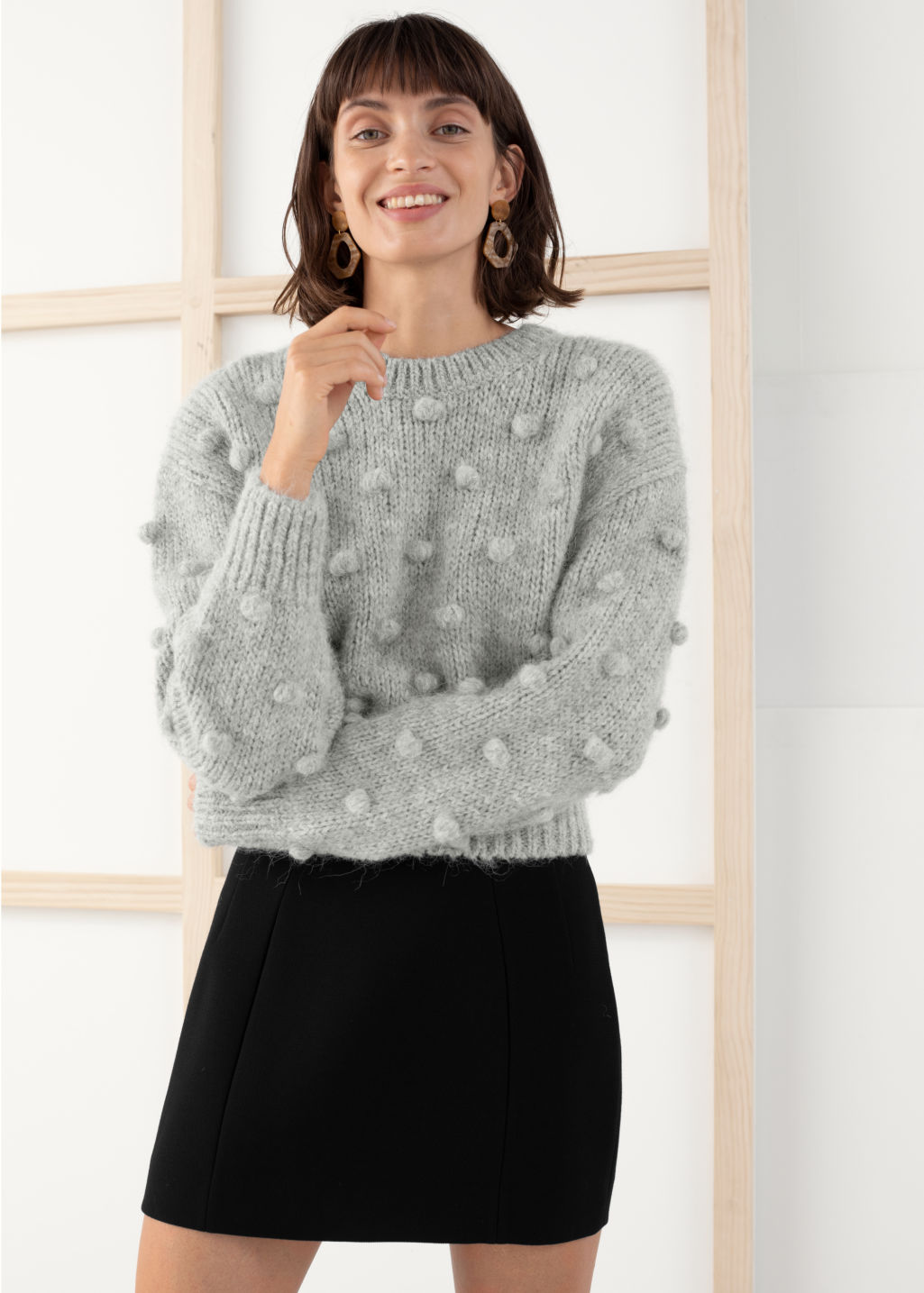 Model front image of Stories alpaca wool knit bobble sweater in grey
