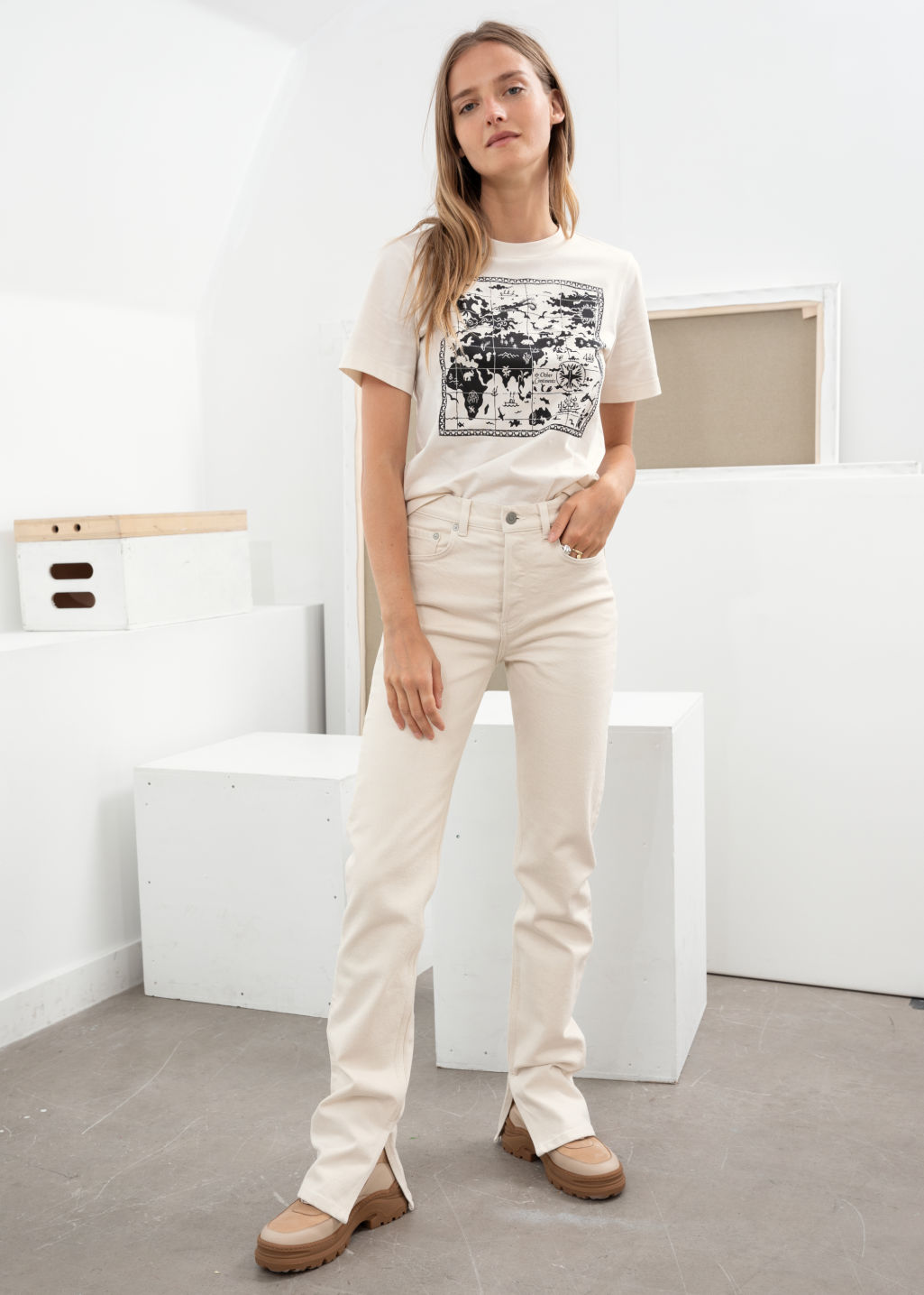 Model front image of Stories straight stretch long leg jeans in white