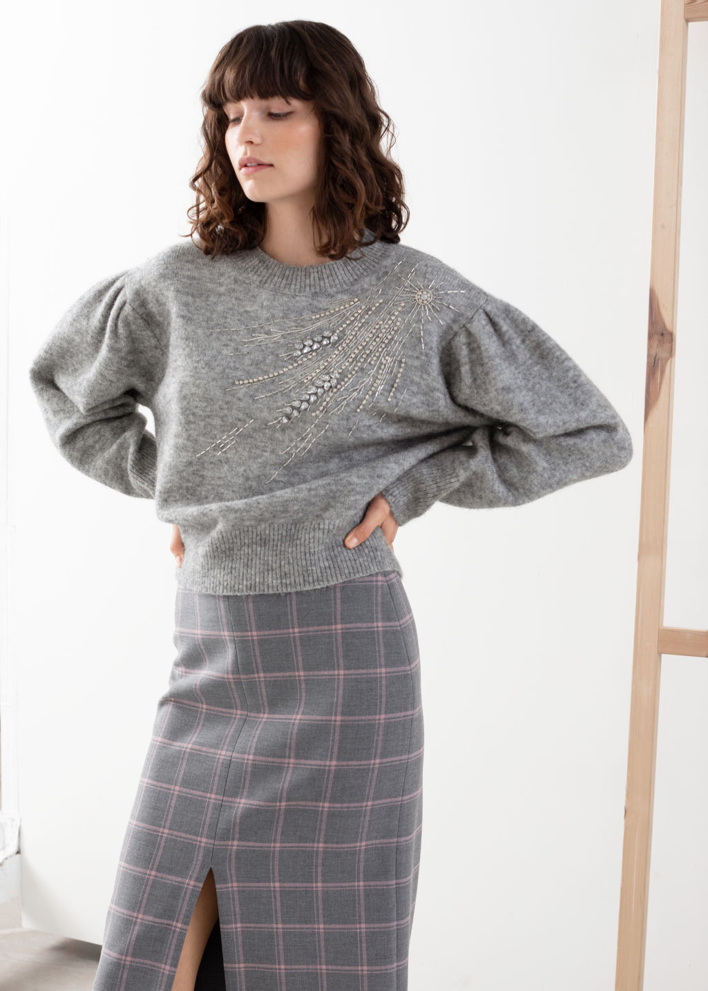 Model front image of Stories embellished wool blend sweater in grey
