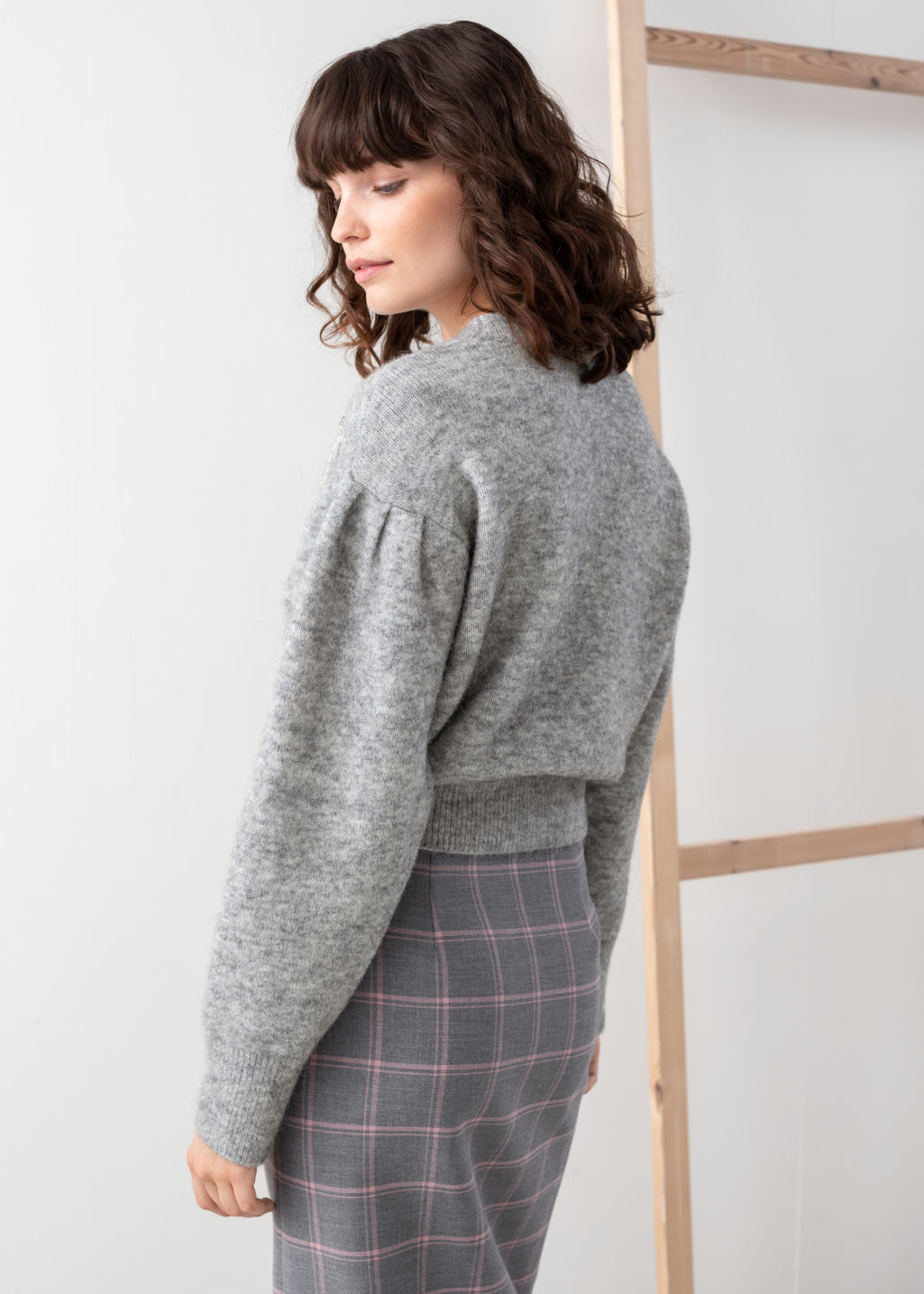Model back image of Stories embellished wool blend sweater in grey