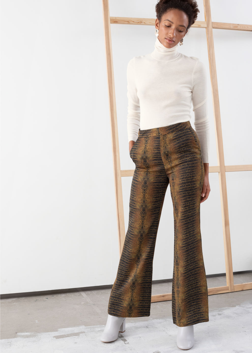 Model front image of Stories flowy tailored croco trousers in yellow