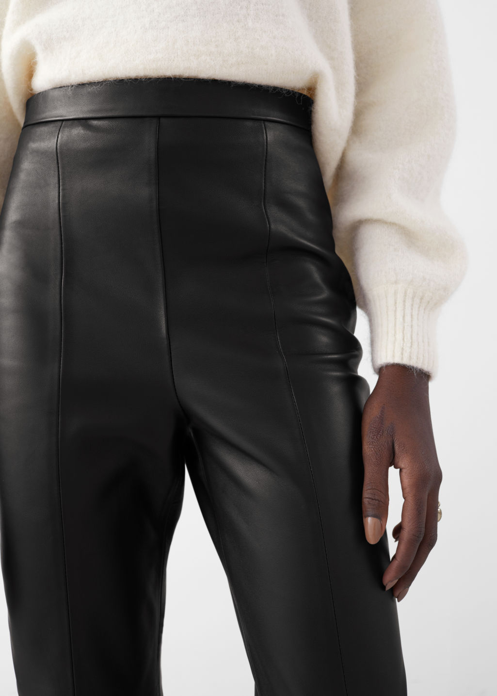 Model front image of Stories soft leather trousers in black