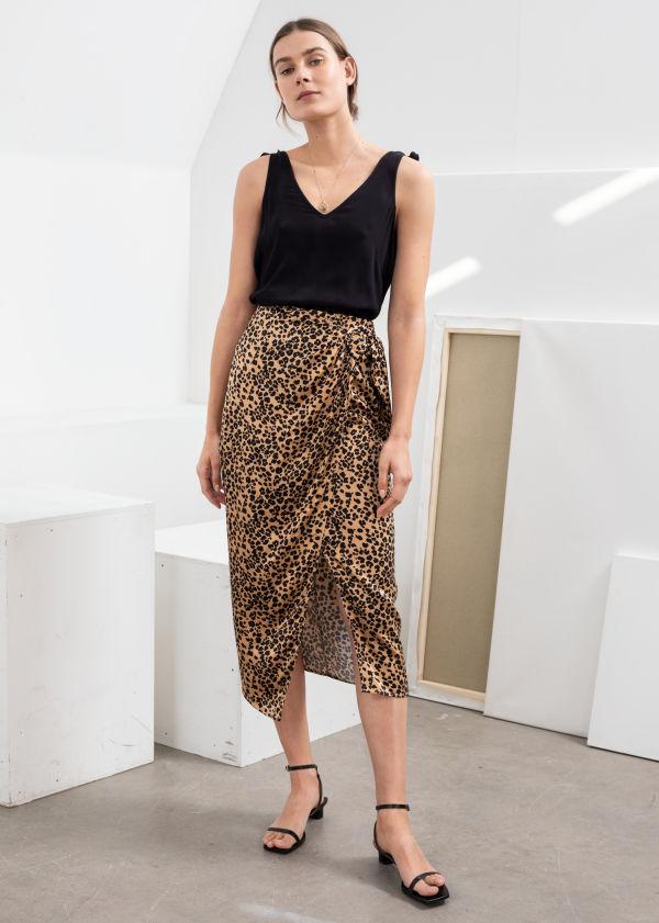 b9c9e51ccd0 Satin Leopard Sarong Skirt ...