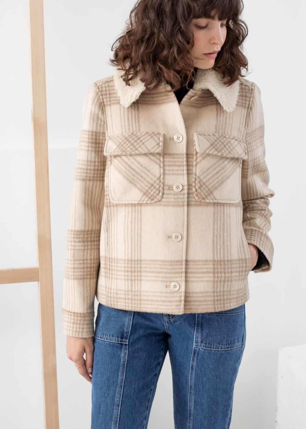 Model back image of Stories faux shearling collar plaid coat in beige
