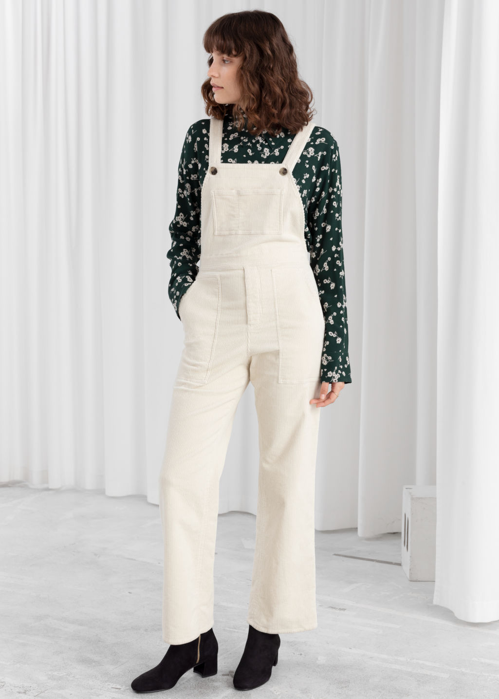 Model front image of Stories corduroy utility overall dungarees in white