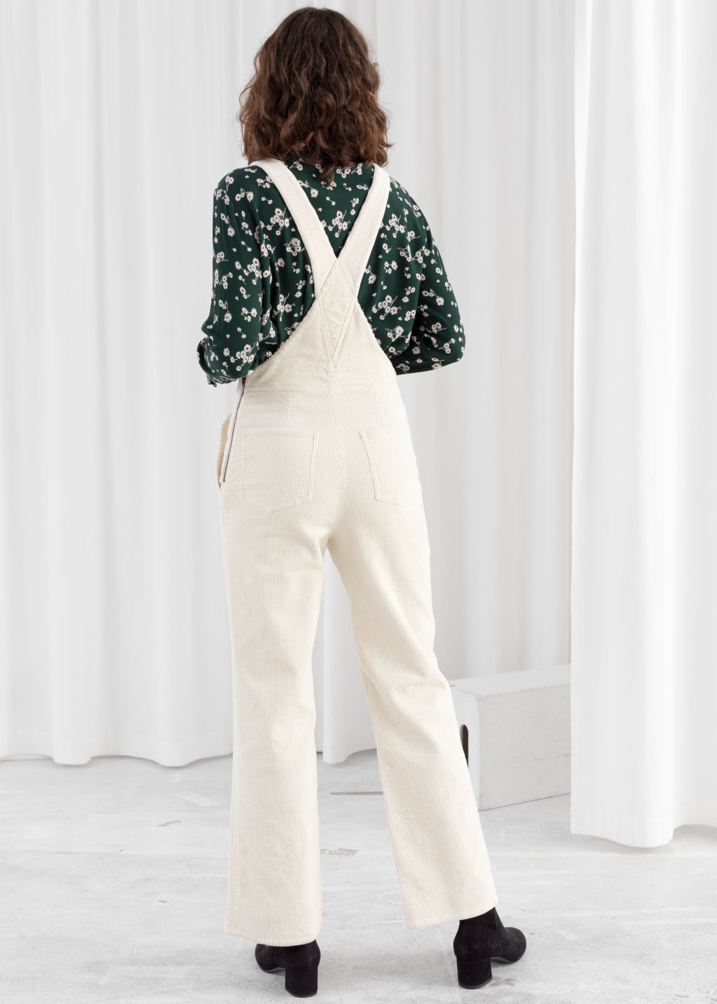 Model back image of Stories corduroy utility overall dungarees in white