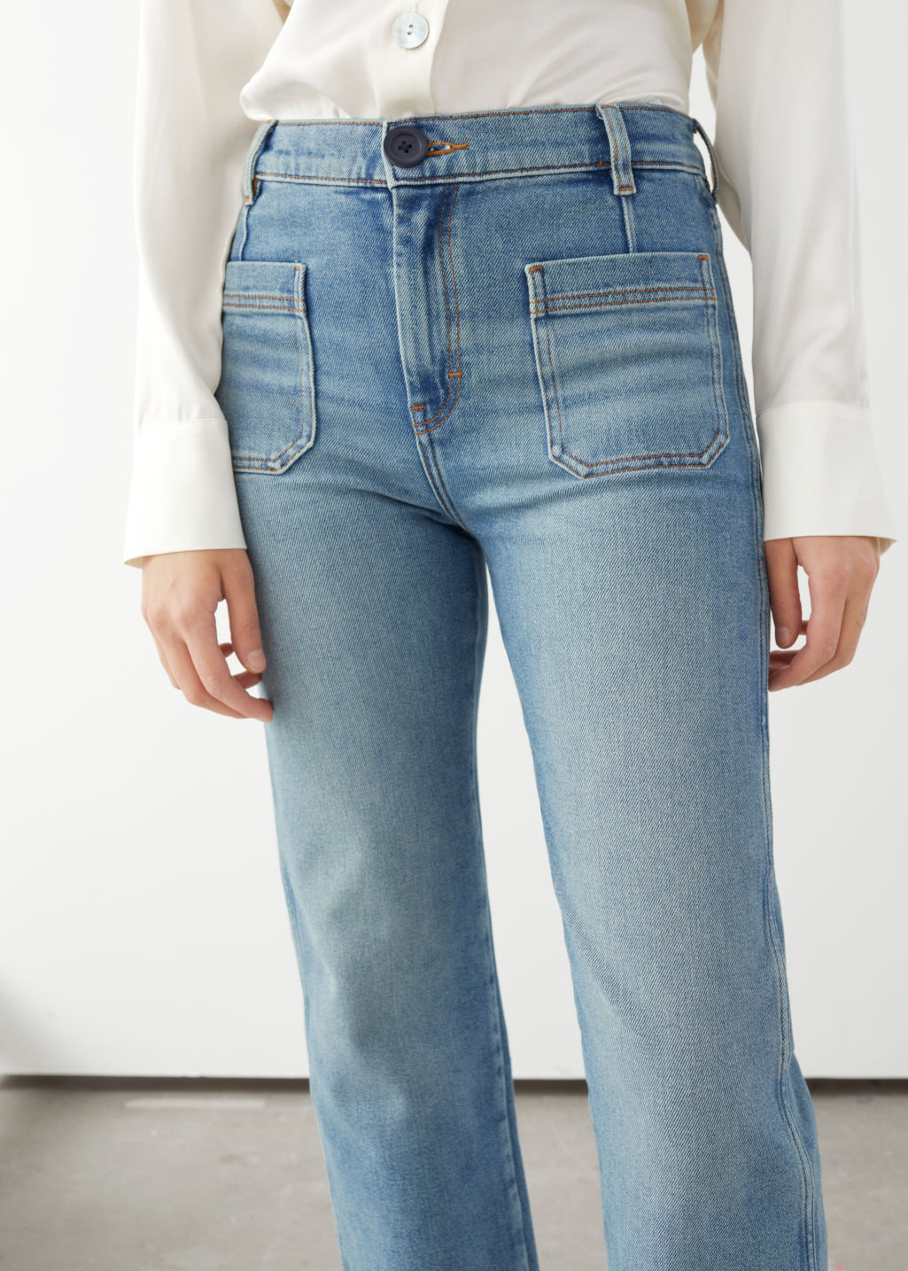 Model front image of Stories straight high rise stretch jeans in blue