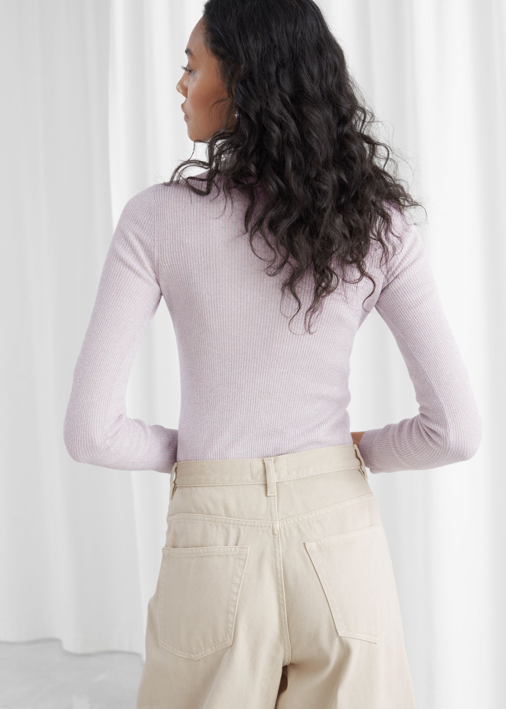 Model back image of Stories wool blend mock neck sweater in purple