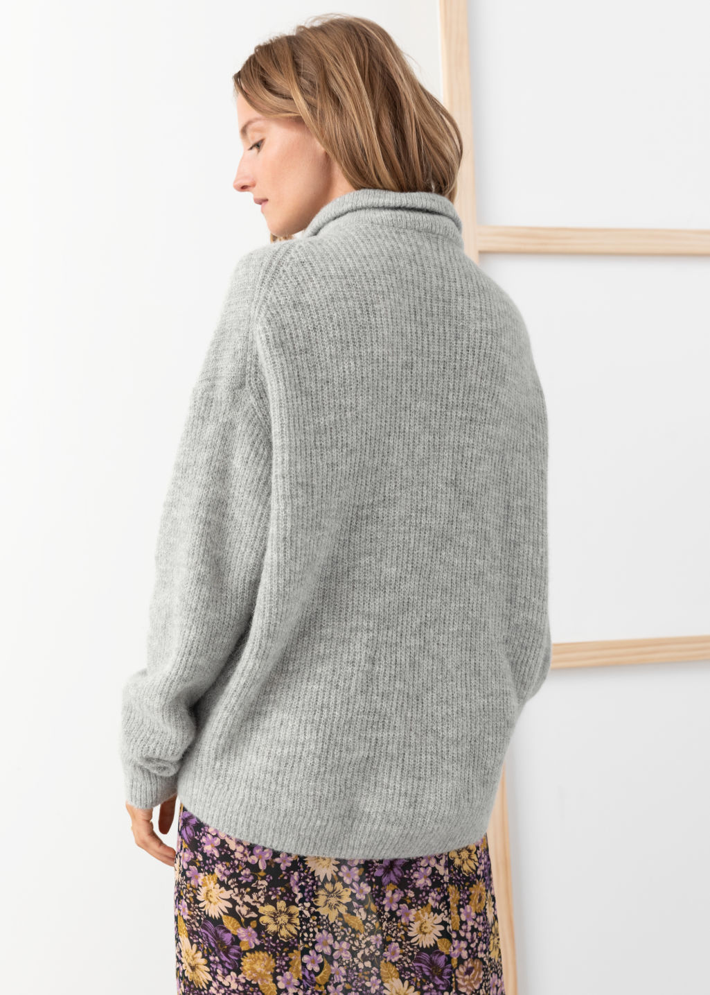 Model back image of Stories wool blend o-ring zipper turtleneck  in grey