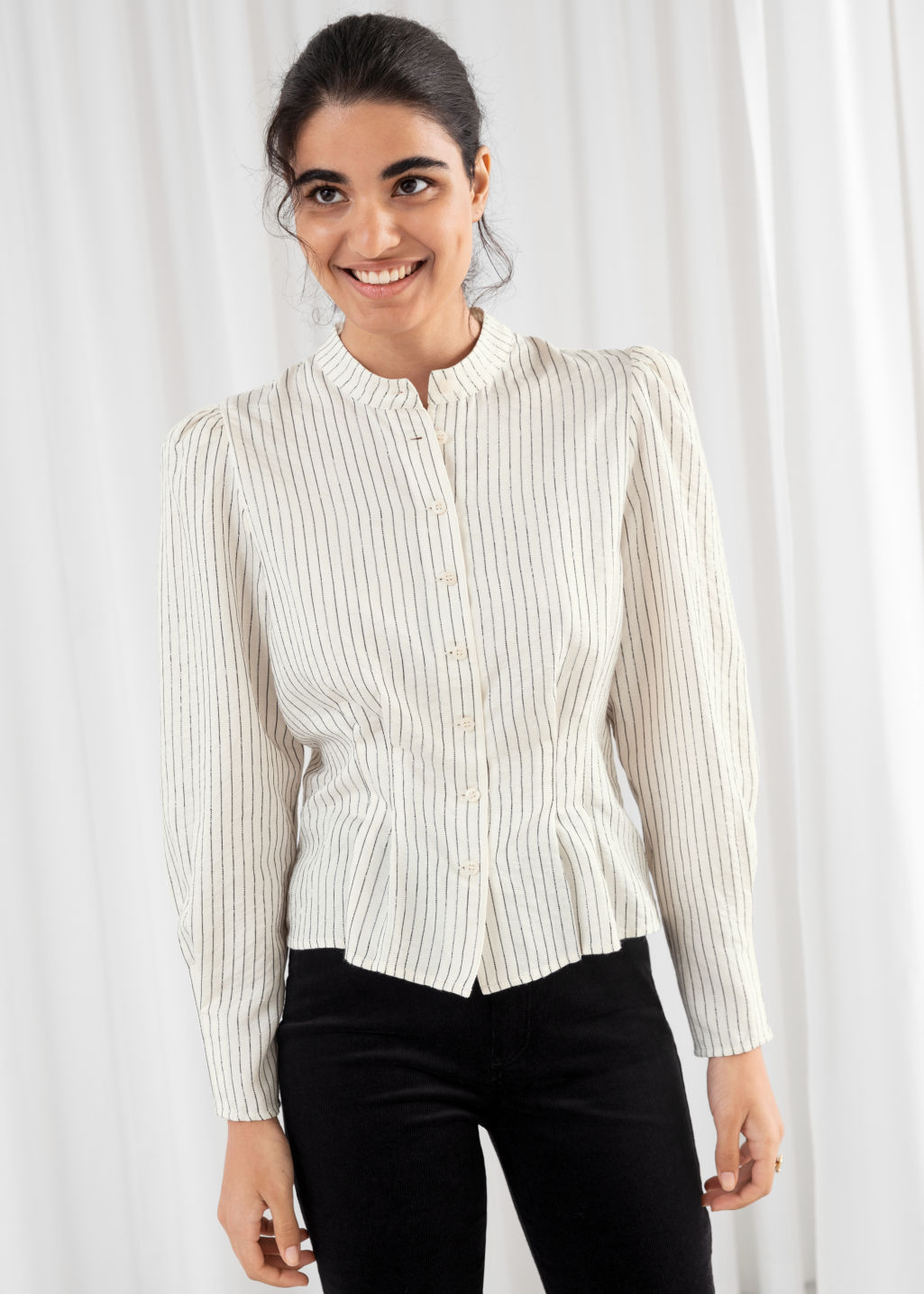 Model front image of Stories glitter striped button up blouse in white