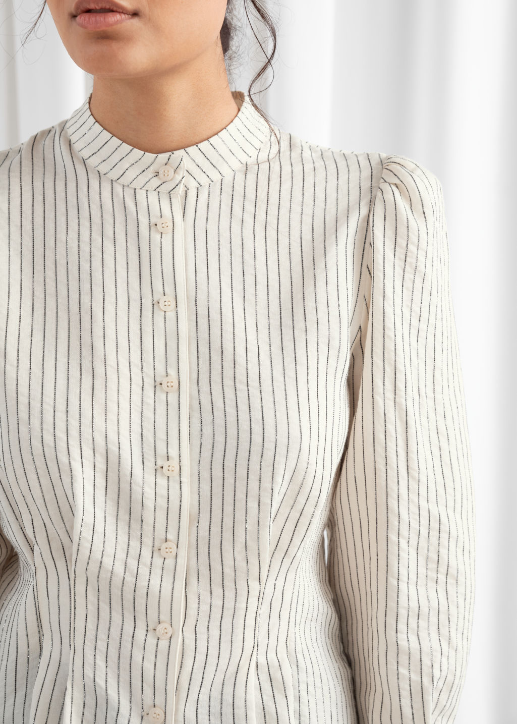 Model back image of Stories glitter striped button up blouse in white