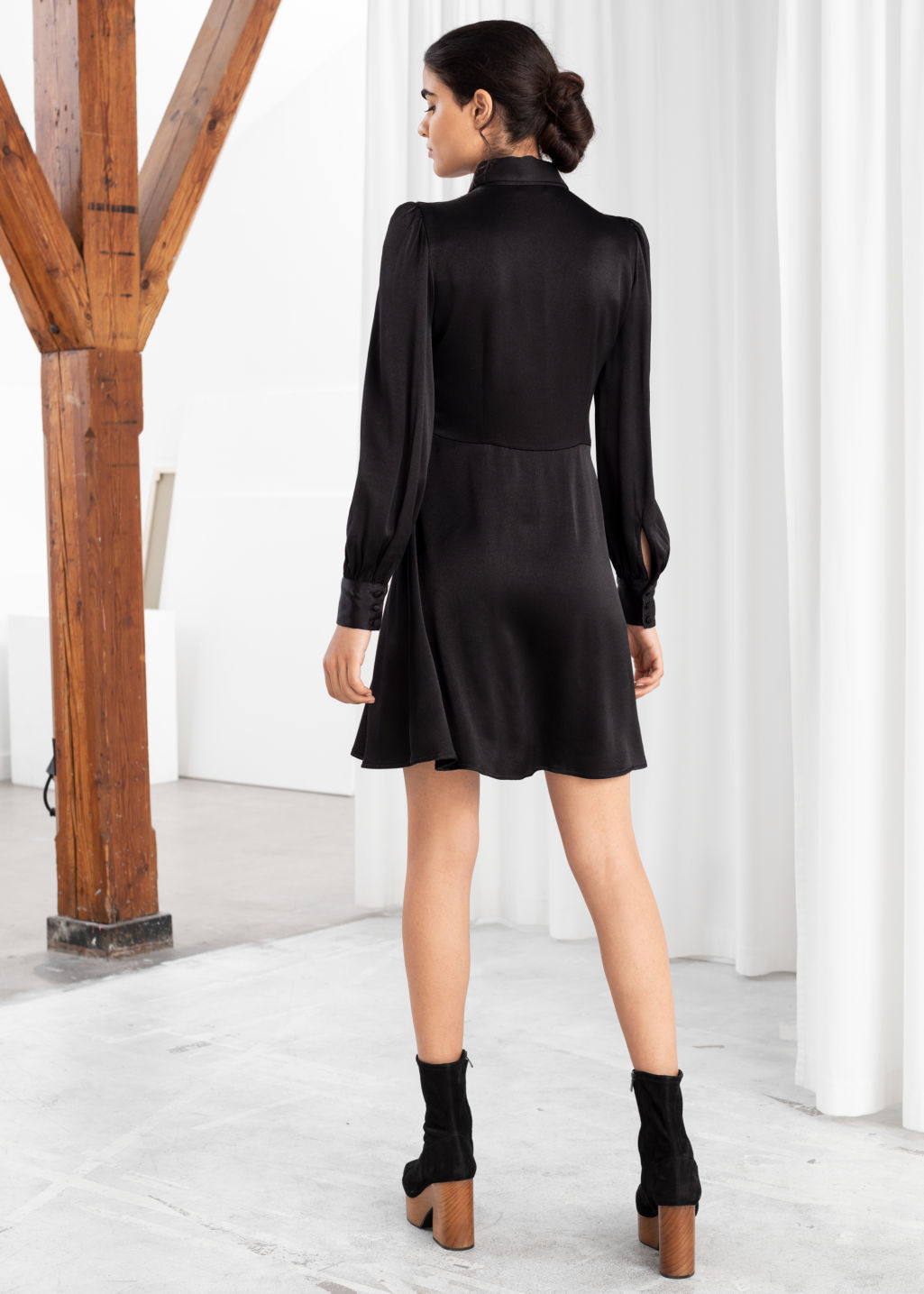 Model back image of Stories satin mini shirt dress in black