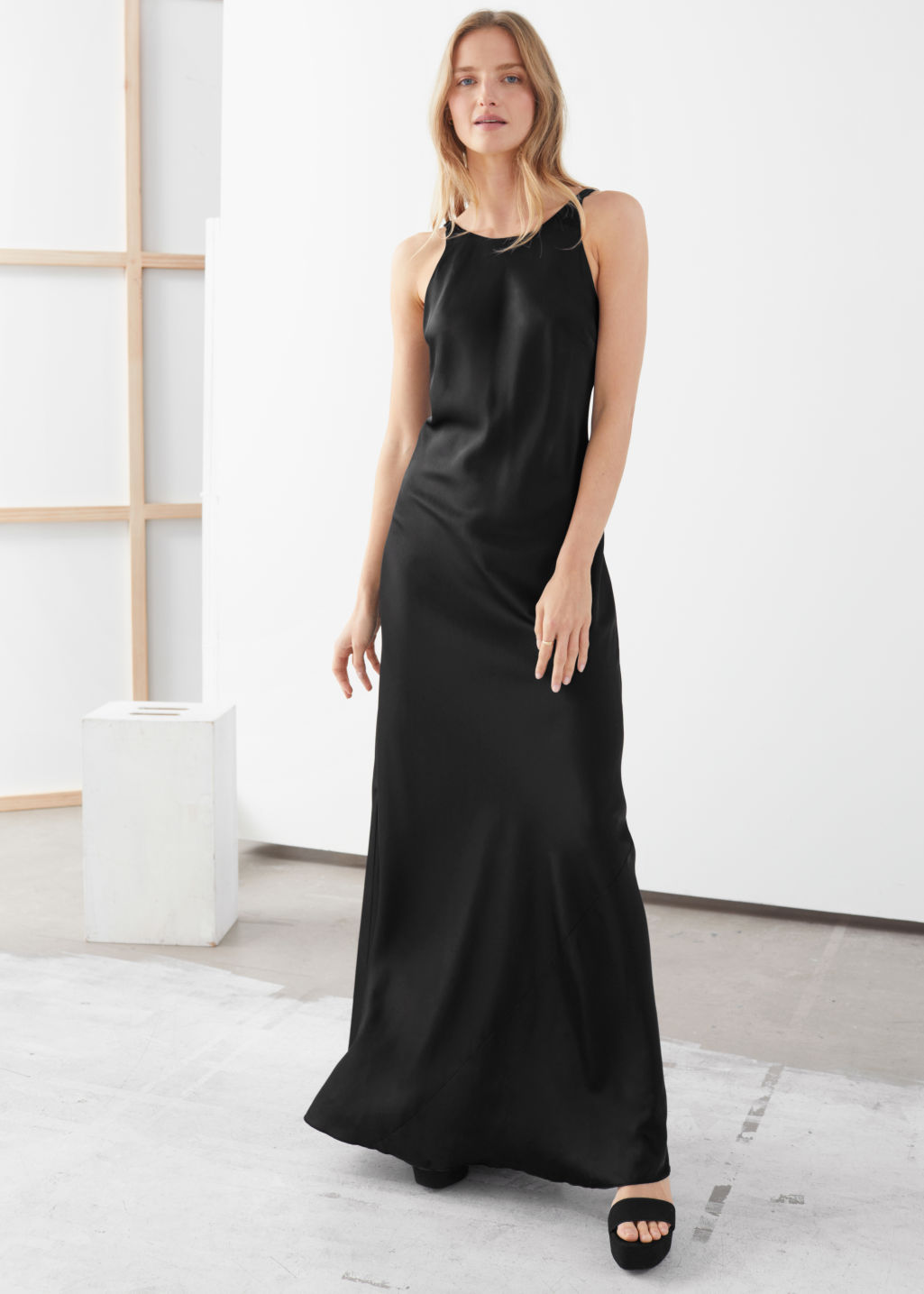 Model front image of Stories fitted scoop back maxi dress in black