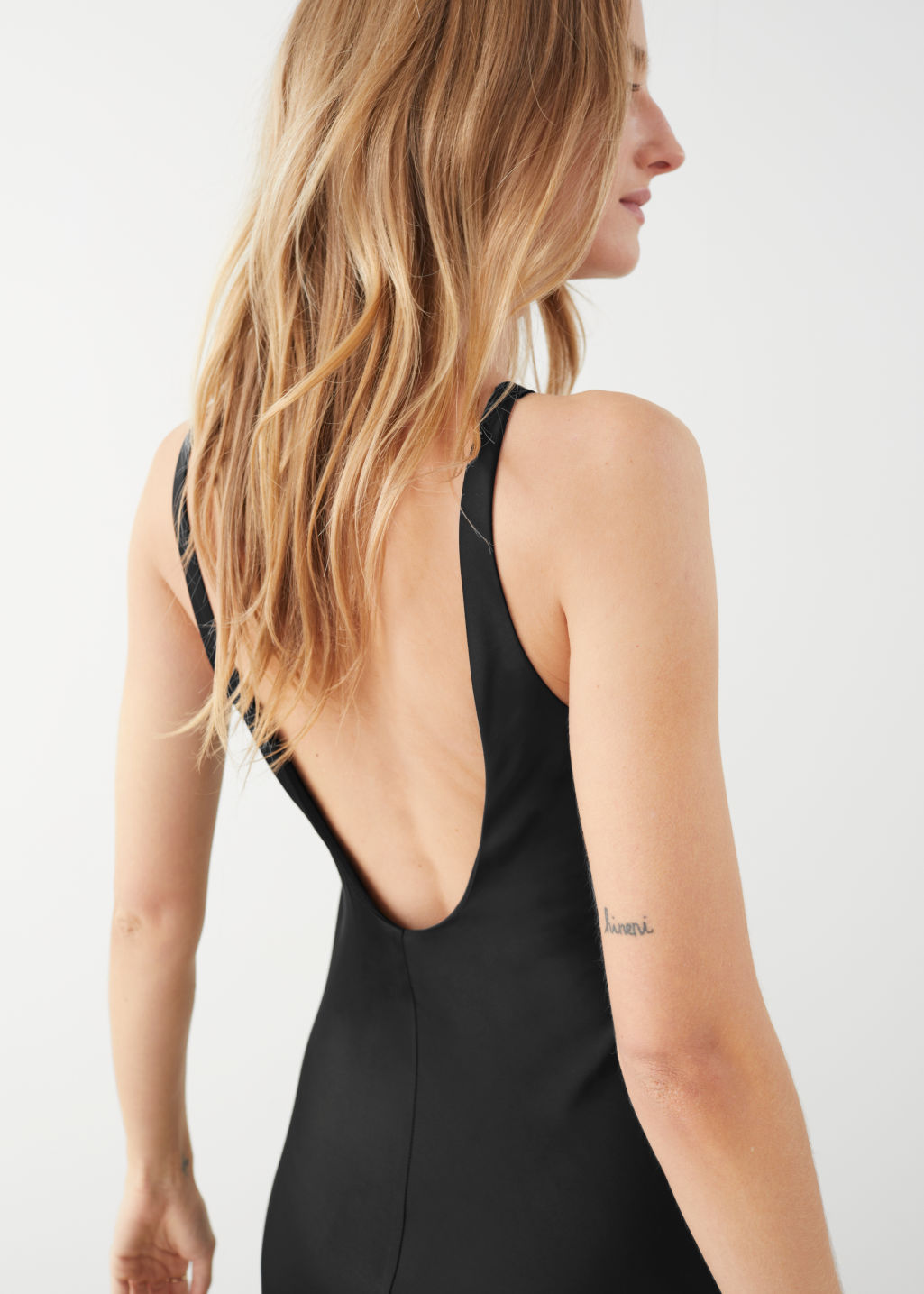 Model back image of Stories fitted scoop back maxi dress in black