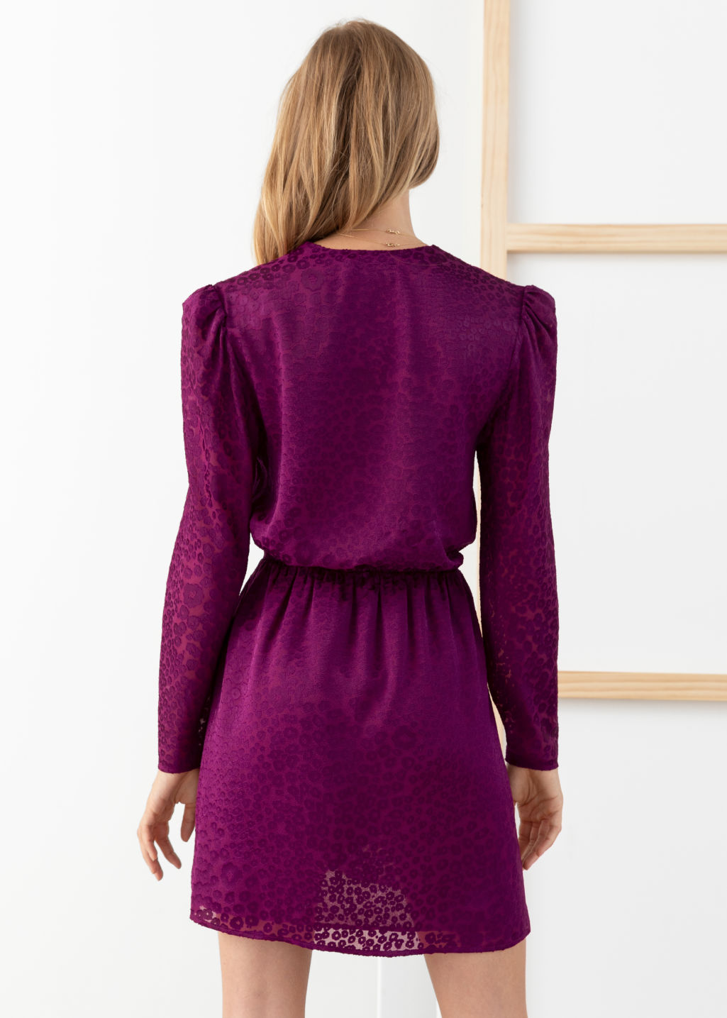 Model back image of Stories gathered waist leopard jacquard mini dress in purple