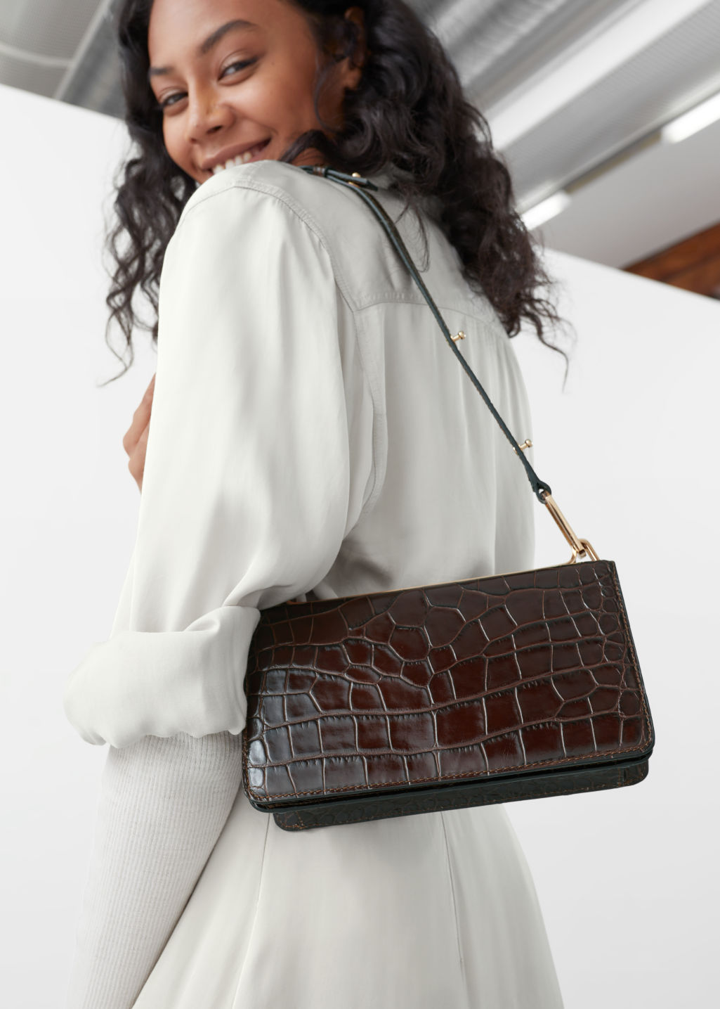 Model front image of Stories duo buckle croc baguette in brown