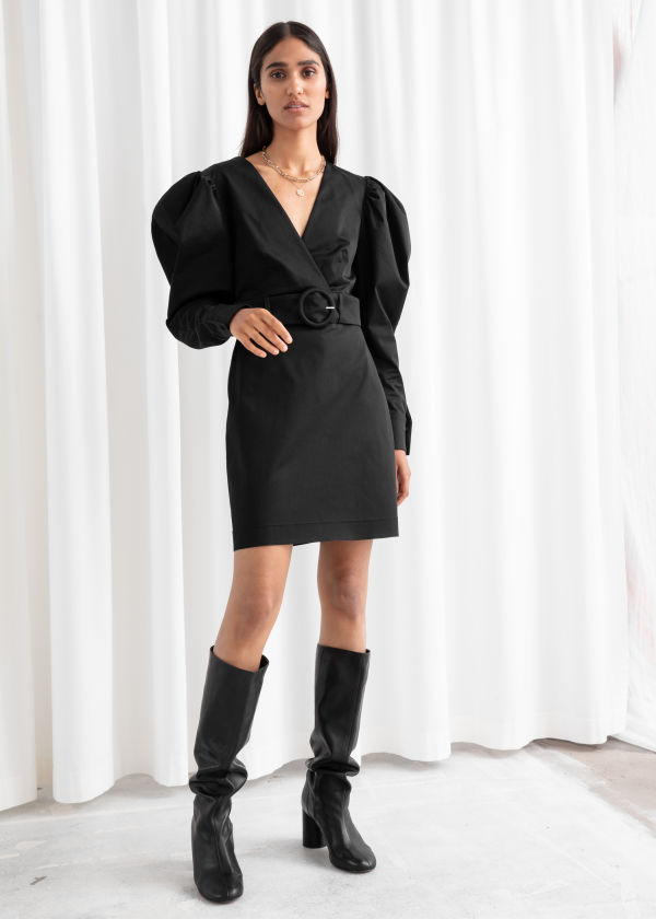 Belted Puff Sleeve Mini Dress