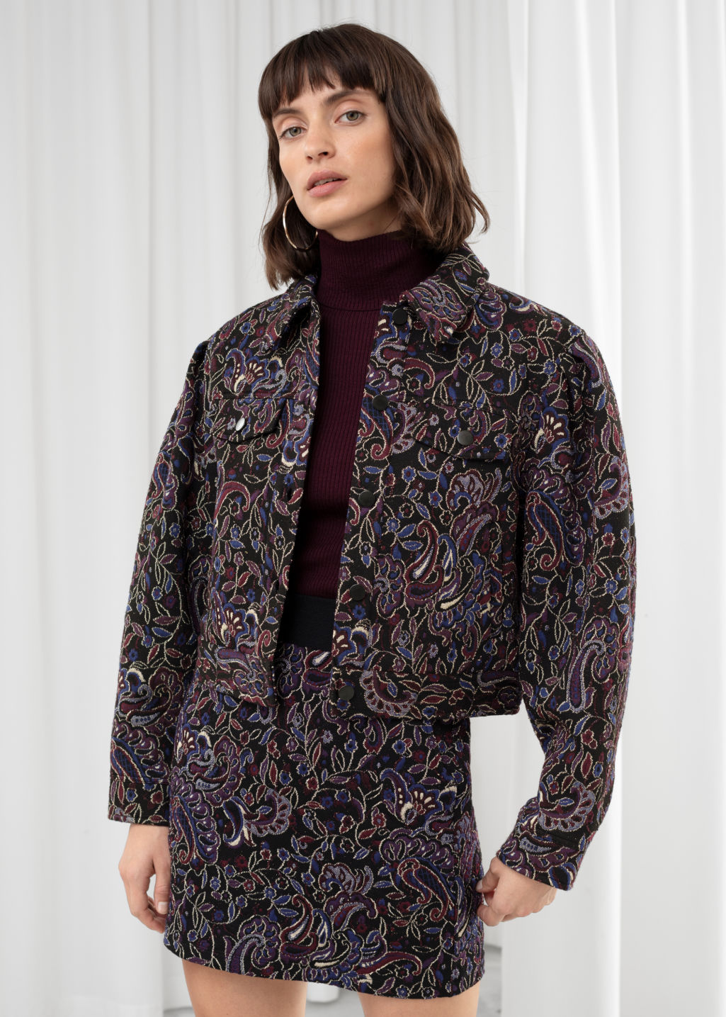Model front image of Stories paisley jacquard boxy jacket in black