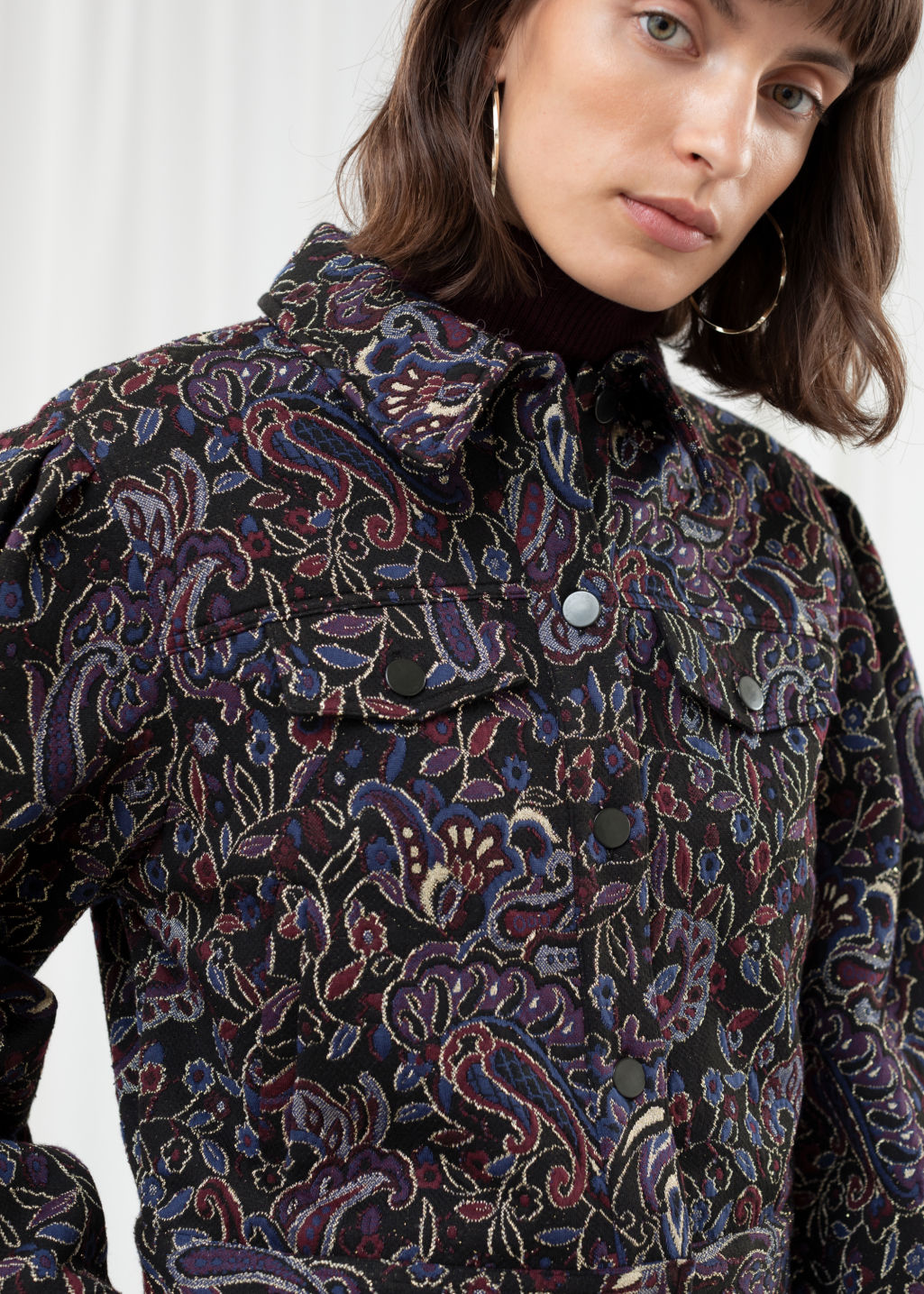 Model back image of Stories paisley jacquard boxy jacket in black