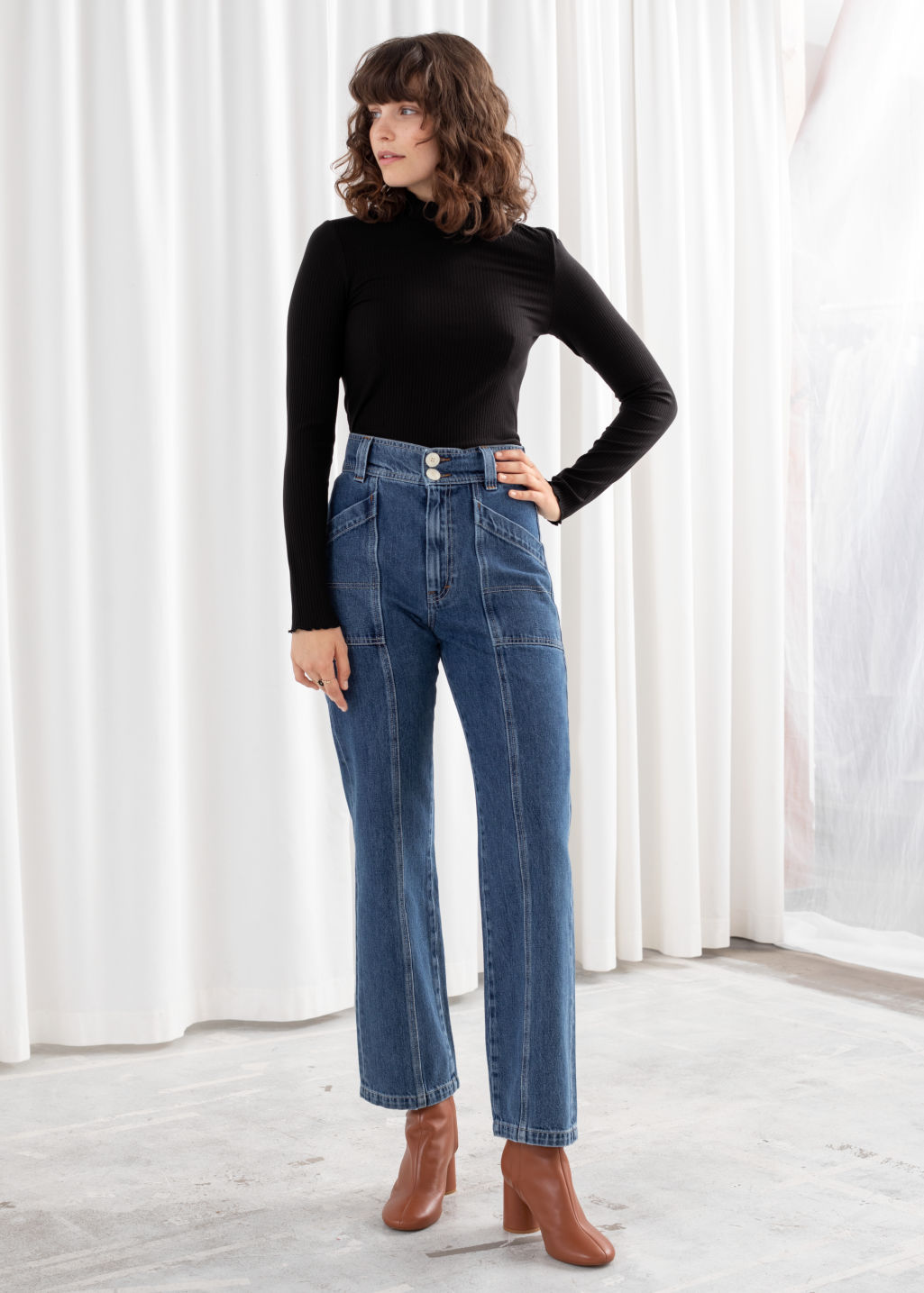 Model front image of Stories straight high rise utility jeans in blue