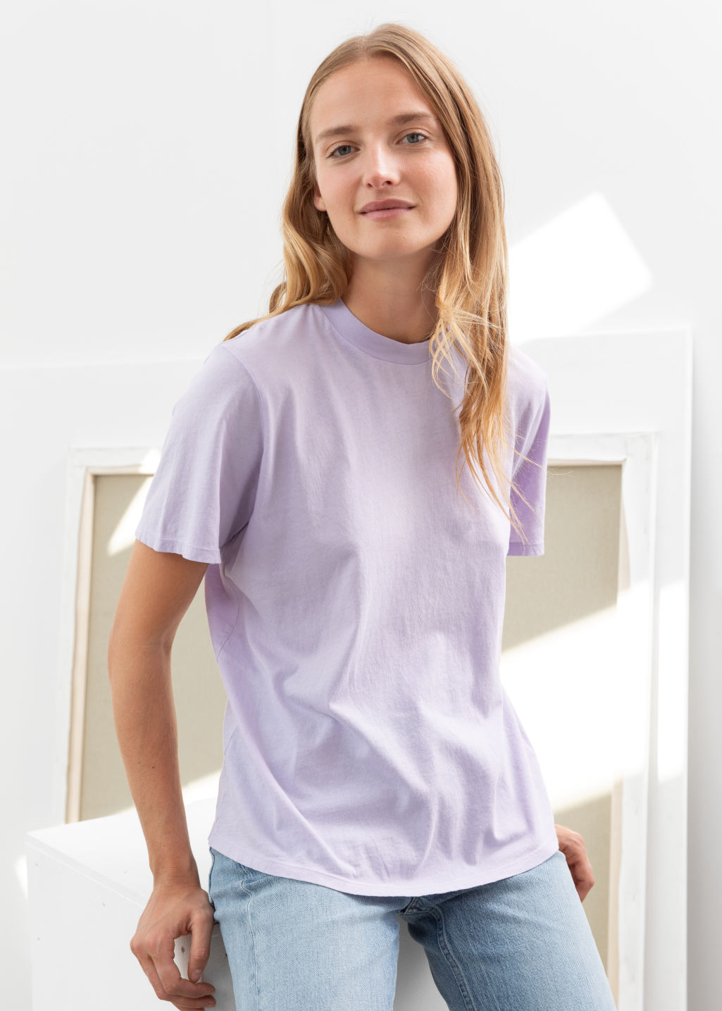 Model front image of Stories organic cotton crewneck t-shirt in purple