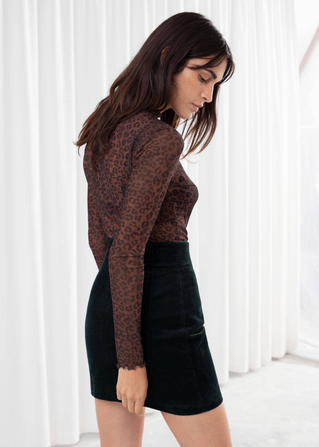 Model back image of Stories fitted floral jacquard top in brown